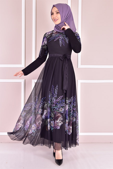 Modamerve Siyah Tül Elbise