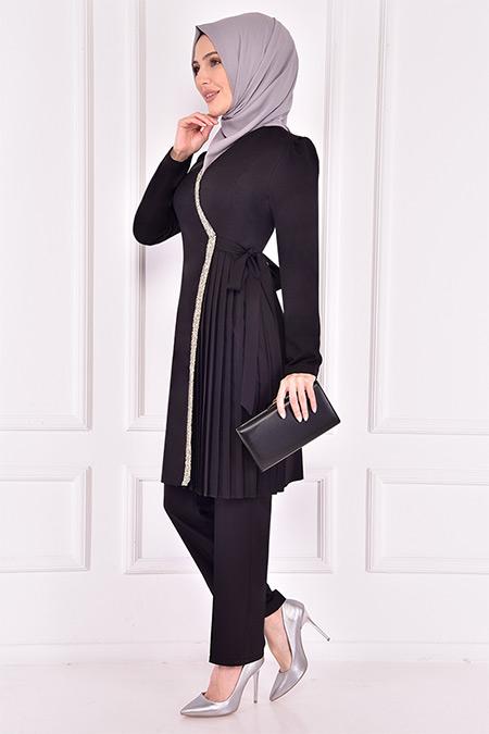 Modamerve Siyah Taş İşlemeli Takım