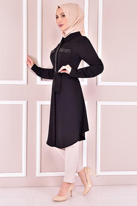 Modamerve Siyah Taş Detay Tunik