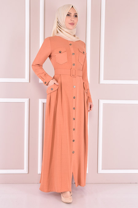 Modamerve Somon Kemerli Elbise