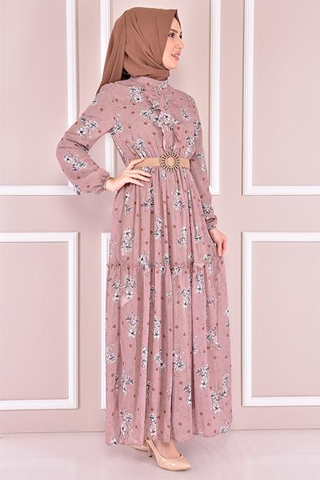 Modamerve Vizon Hasır Kemerli Şifon Elbise