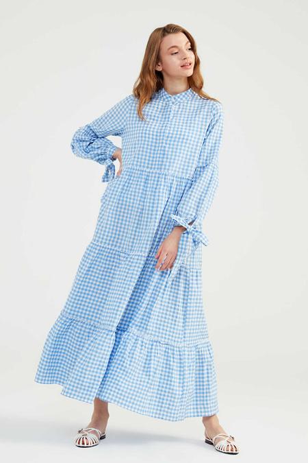 Normcore Bebe Mavisi Doğal Kumaşlı Pöti Elbise