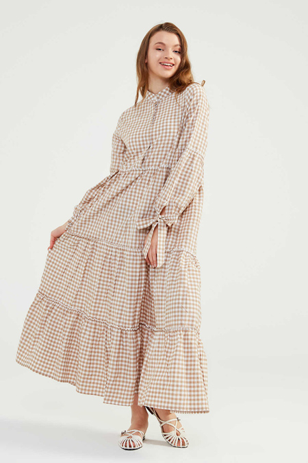Normcore Bej Doğal Kumaşlı Pöti Elbise