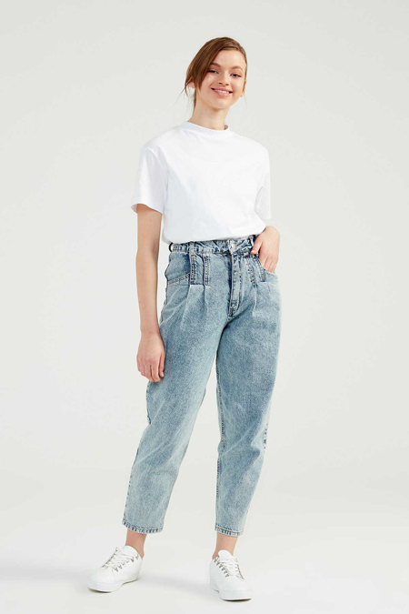 Normcore Buz Mavi Denim Pantolon