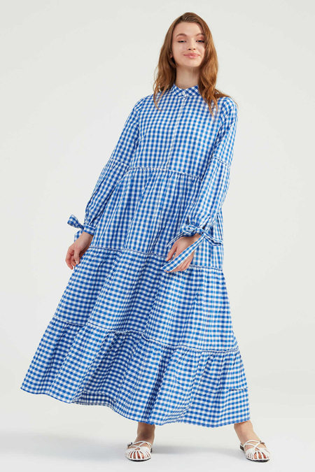 Normcore Saks Doğal Kumaşlı Pöti Elbise