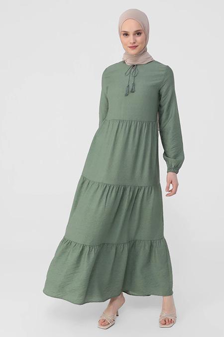 Refka Çağla Püskül Detaylı Kat Kat Elbise