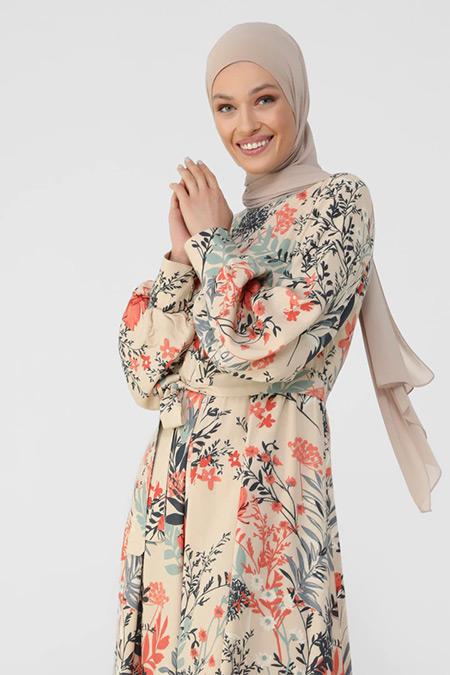Refka Bej Somon Çiçekli Doğal Kumaşlı Yarım Patlı Gömlek Elbise