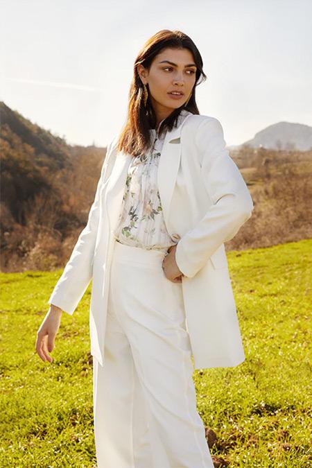 Refka Beyaz Basic Kumaş Pantolon