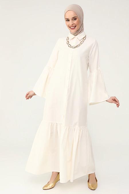 Refka Ekru İspanyol Kollu Eteği Volanlı Pamuklu Elbise