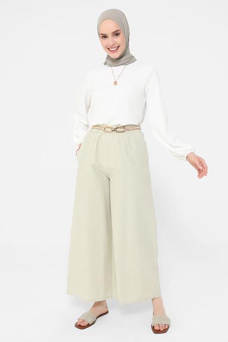 Refka Geniş Paça Beli Lastikli Pamuklu Pantolon