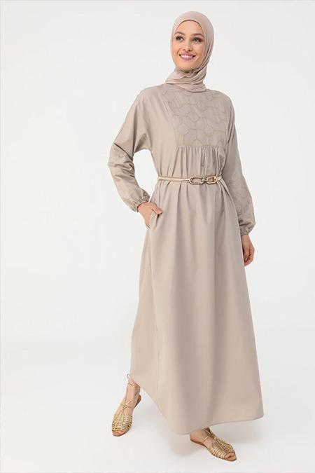 Refka Haki Nakış Detaylı Salaş Elbise