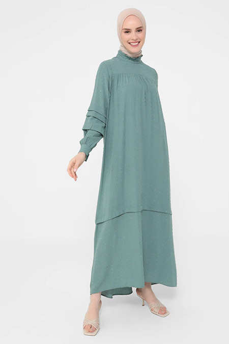 Refka Koyu Çağla Nopeli Kumaşlı Roba Ve Kol Detaylı Elbise
