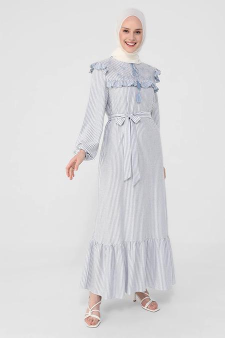 Refka Mavi Nakış Ve Fırfır Detaylı Kendi Kumaşından Kemerli Çizgili Elbise