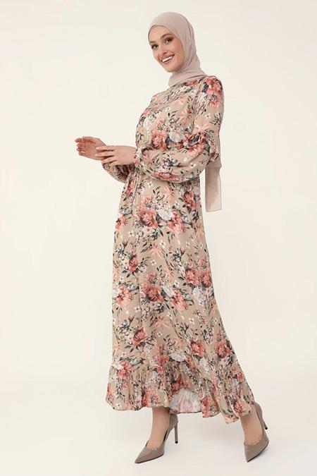 Refka Pudra Çiçekli Doğal Kumaşlı Fırfır Detaylı Elbise