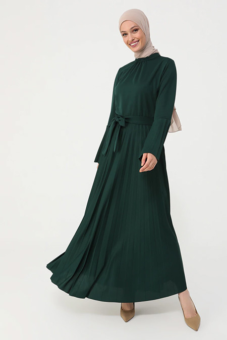 Refka Zümrüt Piliseli İspanyol Kol Elbise