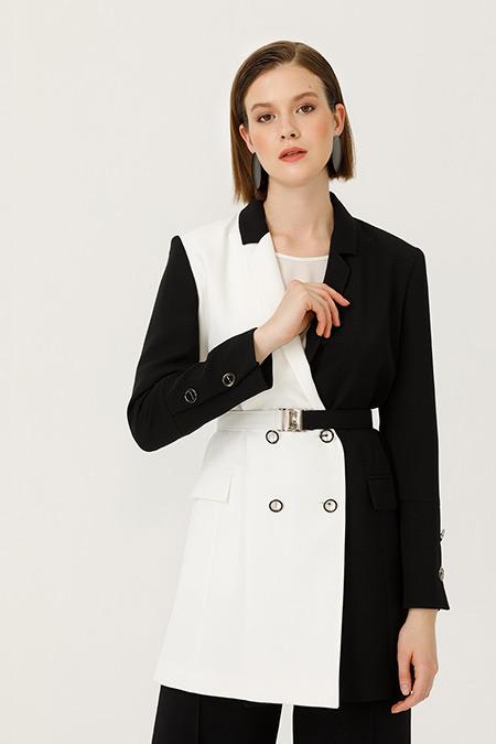 Seçil Siyah Renk Geçişli Ceket