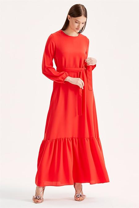 Tığ Triko Kırmızı Volanlı Kuşaklı Elbise