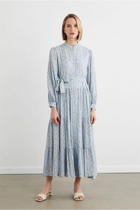 Terzi Dükkanı Bebe Mavi Çiçek Desen Viskon Kat Kat Elbise