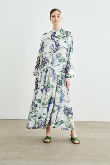 Terzi Dükkanı Beyaz Bahar Desen Şifon Kat Kat Elbise