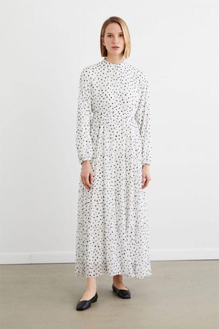 Terzi Dükkanı Beyaz Puantiye Desen Şifon Kat Kat Elbise