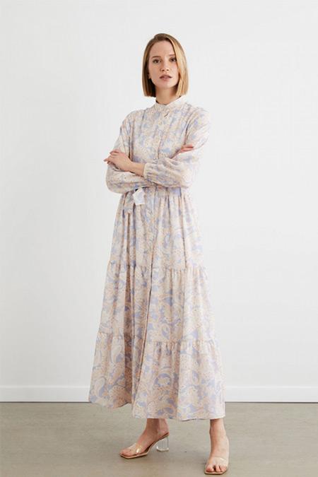 Terzi Dükkanı Mavi Etnik Desenli Uzun Kollu Elbise