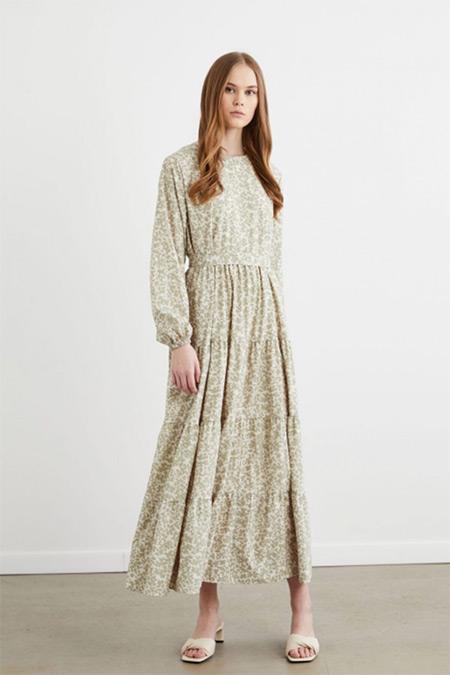 Terzi Dükkanı Mint Yeşili Pera Çiçek Desen Kat Kat Elbise