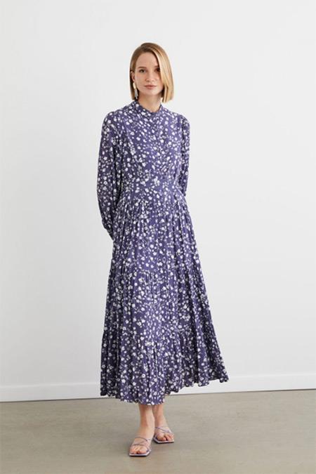 Terzi Dükkanı Mor Çıtır Desen Viskon Kat Kat Elbise