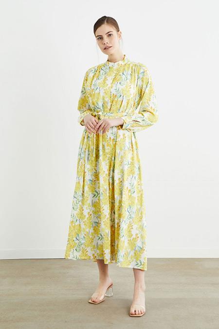 Terzi Dükkanı Sarı Flora Desenli Elbise