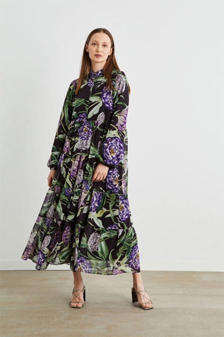 Terzi Dükkanı Siyah Bahar Desen Şifon Kat Kat Elbise