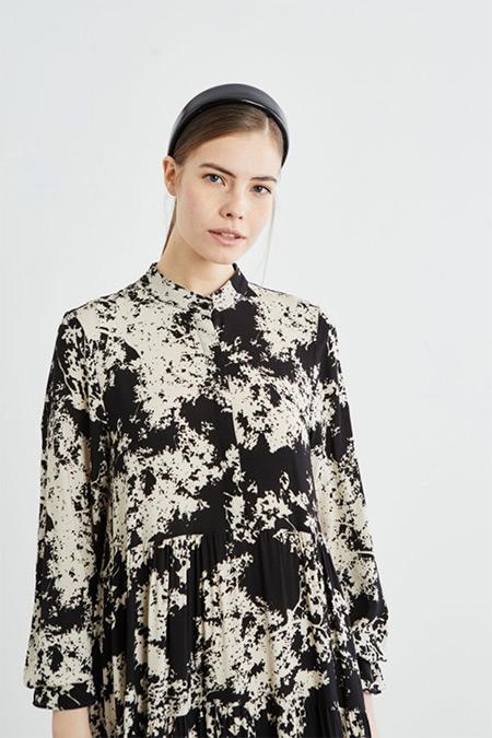 Terzi Dükkanı Siyah Sima Viskon Kat Kat Elbise