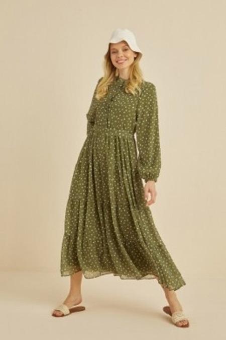 Terzi Dükkanı Yeşil Puantiye Desen Şifon Kat Kat Elbise