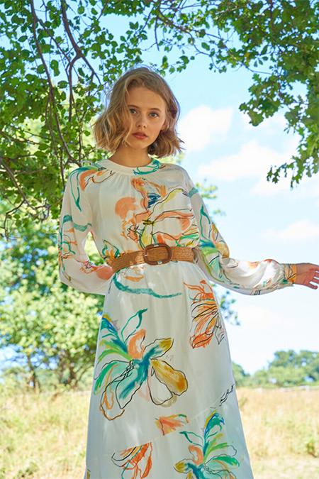 Venöve Çiçekli Sardunya Elbise