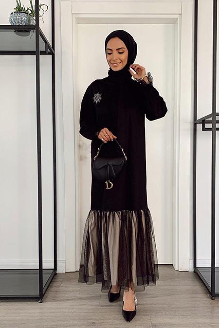 Venöve Siyah Tüllü Elbise