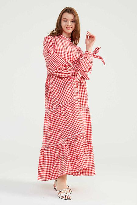 Normcore Kırmızı Doğal Kumaşlı Pöti Elbise