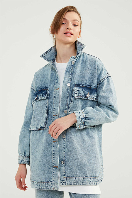 Normcore Buz Mavi Denim Ceket