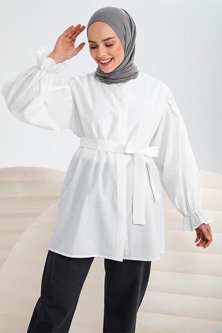 İnşirah Beyaz Kuşaklı Gömlek Tunik