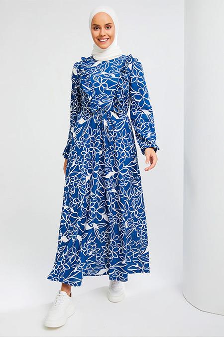 İnşirah Mavi Desenli Elbise