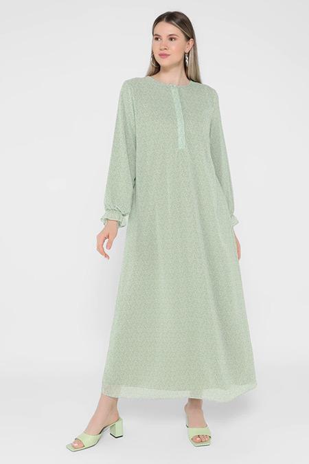 Alia Su Yeşili Büyük Beden Ortanca Desenli Şifon Elbise