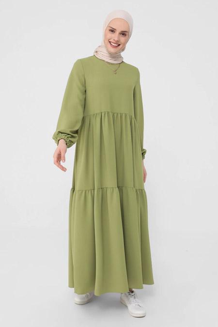 Benin Olive Kol Uçları Lastikli Elbise