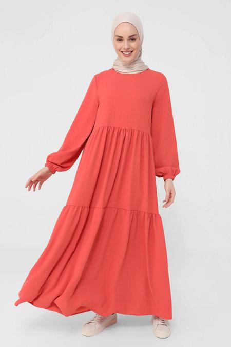 Benin Orange Kol Uçları Lastikli Elbise
