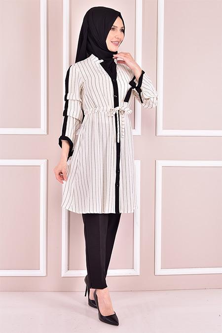 Modamerve Beyaz Çizgili Tunik
