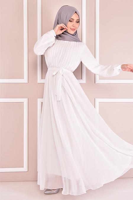 Modamerve Beyaz Piliseli Elbise