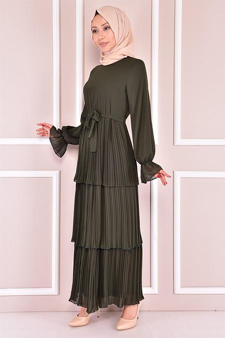 Modamerve Haki Piliseli Şifon Elbise