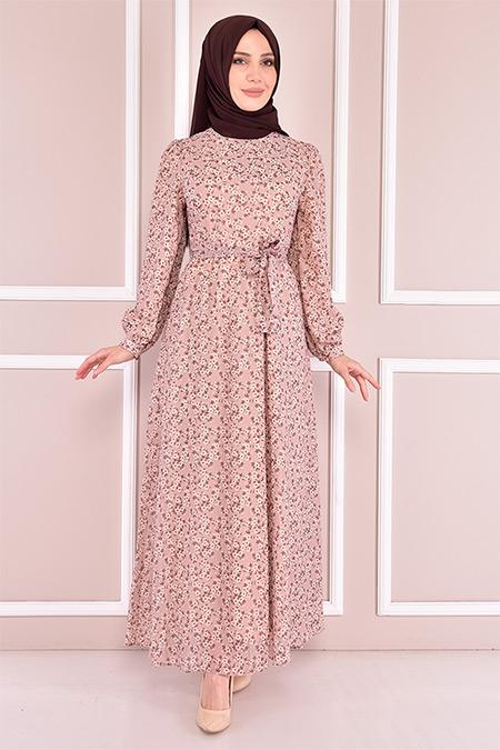 Modamerve Krem Kuşaklı Şifon Elbise