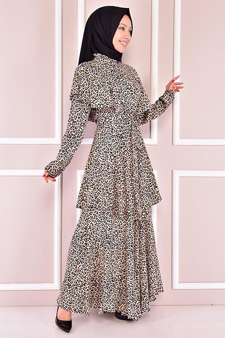 Modamerve Krem Leopar Desen Elbise