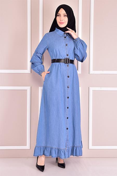 Modamerve Mavi Kemerli Kot Elbise