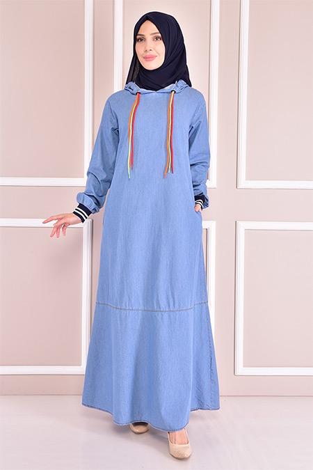 Modamerve Mavi Kot Elbise