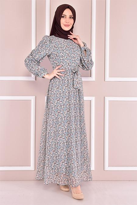 Modamerve Mint Kuşaklı Şifon Elbise
