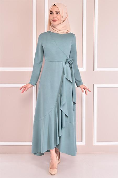 Modamerve Mint Kuşaklı Elbise