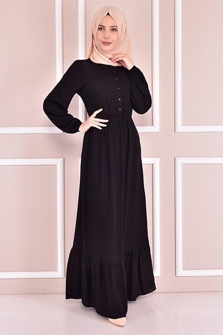 Modamerve Siyah Bel Lastikli Elbise